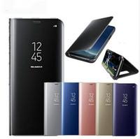 зеркальные стенды оптовых-Для Samsung Galaxy S9 S8 Plus S6 S7 Edge Note 8 Smart Clear Mirror View Case Для Samsung A3 A5 A7 J3 J5 J7 2017 Откидная Крышка Подставки