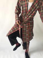 grauer string großhandel-NEU Best Version High Street Nebel OVERSIZE Unisex Herren Self-Belted Winter Plaid Brache Jacke Mäntel Hiphop Long Twill Coat S-XL