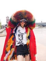 ingrosso trimmer per le ragazze-Giacca di pelliccia di neve di lusso MAOMAOKONG marchio multicolore pelliccia di procione ragazza neve cappotti multicolore pelliccia di volpe fodera rosso lungo parka Sewden