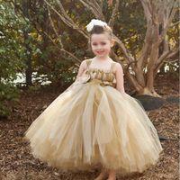 sevimli kıyafetli elbiseler satılık toptan satış-2019 Yeni Spagetti Sapanlar Çiçek Kız Elbise Macun Tül Sevimli İlk Communion elbise Kız Pageant elbise Custom Made Sıcak Satış
