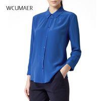 стрейч-атласные рубашки оптовых-S-XXXL женщины королевский синий шелк стрейч атласная блузка дамы повседневная с длинным рукавом кнопка отложным воротником реальный шелк атласная блузка рубашки