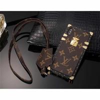 7 'lenovo tablette achat en gros de-Cas de téléphone de luxe en cuir de marque Grid pour iPhone XS MAX XR 6 6 s 7 8 8 plus cas Plug Card Cellphone Case Couverture arrière