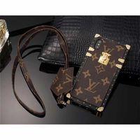 étuis en métal pour téléphone portable iphone achat en gros de-Cas de téléphone de luxe en cuir PU pour iPhone XS MAX XR 6 7 8 8 plus cas Plug Card Cellphone Case Couverture arrière