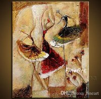 dansçılar petrol kanvas abstract toptan satış-El yapımı tuval soyut bale dansçıları yağlıboya dans modern tuval duvar sanatı duvar tasarımcı tuval benzersiz hediyeler Kungfu Sanat