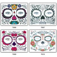 pegatinas de mascarilla al por mayor-Etiquetas engomadas del tatuaje Máscara de Halloween Hombre Etiqueta engomada de la cara de la mujer Impermeable Eco amigable Etapa Prop Máscaras del partido del maquillaje 1 5sf bb