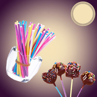 Wholesale lollipop sticks wholesale - Colour Candy Bar Environmental Protection Solid Food Grade Paper Stick For Cake Lollipop Beautiful Smooth Surface 4 8sk WW