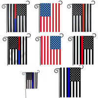banderas blancas negras al por mayor-30 * 45 cm Banderas de los EE. UU. Decoración del partido Línea Azul Bandera de EE. UU. Negro, Blanco y Azul bandera americana Jardín de la bandera Guardería patio Decoración C4380