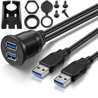 ingrosso doppia gps mount-2 Porte Dual USB 3.0 da maschio a USB 3.0 Femmina Car Panel Flush Mount Cable Dash Mount Extension GPS