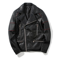 Wholesale fashion mens down jackets for sale – warmest winter Mens Slim Fit Black PU Jackets Red Lines Decorated Turn Down Collar Motorbike Jacket with Zipper Pockets