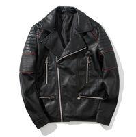 jaqueta moto vermelha venda por atacado-Mens Slim Fit Preto PU Casacos Linhas Vermelhas Decoradas Turn Down Collar Moto Jacket com Bolsos Com Zíper