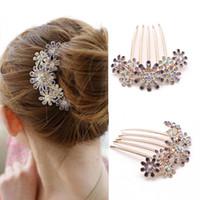 metal çiçek saç tokaları toptan satış-10 adet Moda Kristal Çiçek Firkete Metal Saç Klipler Tarak Pin Kadın Kadın Tokalar Saç Tarak Saç Aksesuarları Şekillendirici Aracı