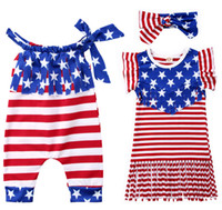 474eea60b96 Wholesale 4th july dresses for sale - Baby Girls Tassel Romper Dresses Bow  Headband Lace up