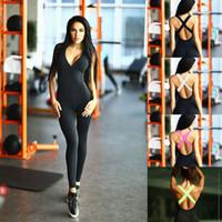 Wholesale light up clothes - MEIERSES Yoga Set Light Weight Sports Jumpsuit Bandage Women Sportswear Slim Fitness Clothing Backless Push Up One Piece Running