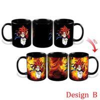 copo de café do dragão venda por atacado-Canecas de Mudança de cor da cozinha Dragon Ball Z Caneca Filho Goku Calor Reativo Cerâmico Super Saiyan Copos de Café Taza Goku Cup
