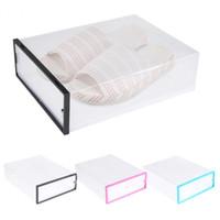 контейнер для хранения ящиков с прозрачной пластмассой оптовых-Hot Foldable Clear Plastic Transparent Shoe Storage Box Drawer Case Shoes Organizer Box Holder