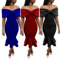 2018 Hot Sale European Style Women s Winter Vestidos Dresses New Fashion  Off Shoulder Party Bodycon Club Bandage Dresses W Ruffle Edge 5b7a60365
