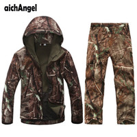 Wholesale army military suit for sale - Group buy Tactical Gear Softshell Camouflage Suit Men Army Waterproof Warm Military Uniform Windbreaker Fleece Coat Military Clothes Sets