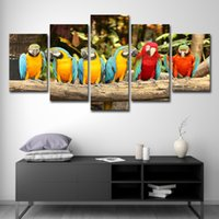 Wholesale group oil painting wall art for sale - Group buy Canvas Paintings Wall Art Home Decor Living Room HD Printed Pieces Parrot Group Poster Feather Colorful Birds Pictures