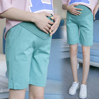Wholesale pants for pregnant women - 1 2 Length Summer Fashion Maternity Shorts Elastic Waist Cotton Linen Clothes for Pregnant Women Pregnancy Short Pants