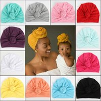 Wholesale newborn cotton hat pink resale online - Newest Mom and Baby Hat Soft Cotton Knot Infant Beanies Caps For Girls Boys Newborn Turban Accessories Gift