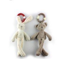 Wholesale baby toys pram - Lovely Plush Rabbit Bear Doll Creative Baby Crib Stroller Hanging Ring Infant Kid Pram Mobile Bed Appease Intelligence Windbell Toy Gift 6 8