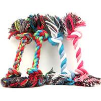 nudos de perro al por mayor-Nueva cuerda de algodón para mascotas juguetes del perro del perrito de algodón Chew nudo durable cuerda trenzada Bone Juguete del gato Mascotas Suministros para mascotas perros pequeños