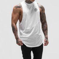 homme portant un débardeur achat en gros de-Hommes Débardeur Bodybuilding Stringer Top T-shirts Hommes Fitness T-shirt Muscle Guys Gilet Sans Manches Débardeur Sport Wear