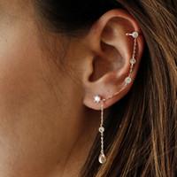 Wholesale stud chain link earrings resale online - 1 piece elegance tassel earring for women sterling silver single cz stud circle ear cuff link chain gorgeous european women jewelry