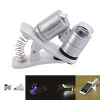 handylinse lupe großhandel-60X Zoom optisches Mikroskop Makro Objektiv für Handy mit 3 LED Licht Clip Weitwinkel Mini Lupe für Universal Handys Objektiv