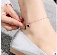 christmas rose plant Canada - 18K rose gold anklet titanium steel roman digital beads pearl tassel love small bell anklets 16