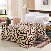 Wholesale king size fashion bedding online - Autumn and winter fashion super soft flannel wool blanket sofa bed single bed blanket king size