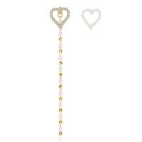 larga cadena de oro perla al por mayor-Gold Golor Unique Tiny CZ Paved Heart Stud Pendientes con perlas de plástico largo Con cuentas Cadenas Pendientes de boda para mujeres