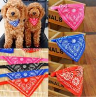 Wholesale Pink Dog Scarf - Fashion Leather Cute Flowers Pet Dog Puppy Cats Collar Necks Scarf Tie Bandana Neckerchief Accessories