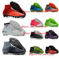 Wholesale gold youth cleats resale online - 2018 cheap youth soccer cleats Mercurial Superfly V SX Neymar Ronalro AG kids soccer shoes mens boys football boots Rising Fast Pack New