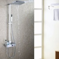 Wholesale wall faucet waterfall shower - Digital Display Bathroom Shower Set Intelligent Brass Faucet Smart Rain Wall Waterfall Temperature Thermostatic Shower Faucets