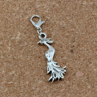 Wholesale 100Pcs Antique Silver Phoenix Bird Charms Bead with Lobster clasp Fit Charm Bracelet DIY Jewelry x45mm A b