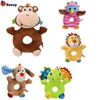 Wholesale musical soft toy - Wholesale- Sozzy Newborn Cute Cartoon Baby Rattles Infant Animal Hand Plush musical Bell Kids Plush Soft Development Gifts Rings Kids Toys