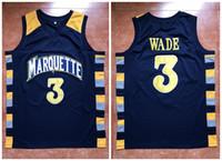 kundenspezifische jersey-stickerei großhandel-Dwayne Wade # 3 Basketball Jersey Herren Marquette Golden Eagles College Stickerei genäht benutzerdefinierte Anzahl Name Trikots