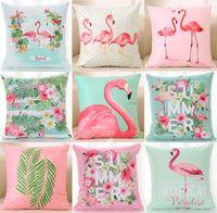 Wholesale black paradise - Tropical Paradise Flamingo Bird Cushion Cover Summer Vibes Flowers Birds Cactus Cacti Cushion Covers Sofa Throw Soft Short Plush Pillow Case