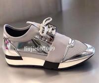 sapatos brilhantes pretos para homens venda por atacado-Corredor de corrida de caixa dupla homem sapato casual mulher moda tênis de cores misturadas novo designer de prata brilho preto malha treinador sapatos tamanho 35-46