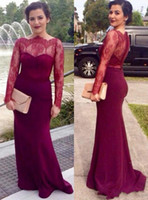 Wholesale Red Wine Tea - Wine Red Long Sleeve Mother Of Bride Dresses Plus Size Boat Neck Lace Satin Covered Button Mermaid Women Evening Formal Dresses