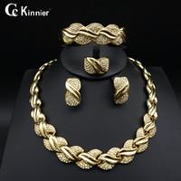 afrikanische jade großhandel-whole saleFashion von frauen schmuck-set African Dubai gold-farbe Übertreiben halskette armband ohrringe hochzeit afrikanische perlen schmuck sets