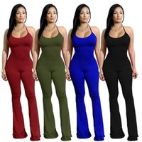 Wholesale Sexy Ladies Night Pants - 2018 Fashion Women Ladies One Piece Outfits Halter Sling Jumpsuits Sleeveless Bodycon Long Pants Sexy Rompers Night Club Suit