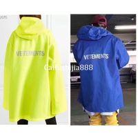 ingrosso giacca impermeabile gialla-Streetwear Vetements Giacche Uomo Donna Hip Hop Blu Giallo Oversize Vetements Giacca a vento Impermeabile Giacca antipioggia Vetements