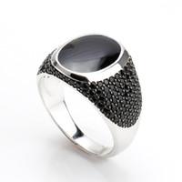 herren sterling silber stein ringe großhandel-Vintage schwarz Epoxy Ringe für Herren schwarzen Zirkon Stein einzigartige Silber Schmuck 925 Sterling Silber Herren muslimischen männlichen Ring