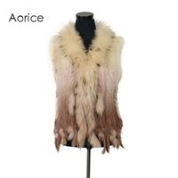 Wholesale knit dog collar online - Pudi VR001 women natural real rabbit fur vest with raccoon fur collar waistcoat jackets rex rabbit knitted
