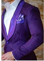 ingrosso il migliore vestito cravatta viola-New Fashion One Button Viola Smoking dello sposo Paisley Groomsmen Scialle Risvolto Best Man Blazer Mens Abiti da sposa (Jacket + Pants + Tie) H: 873