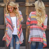Wholesale Women Stylish Blouse - Sannysis 2018 Spring Stylish Women Irregular Stripe Shawl Kimono Cardigan Tops Cover Up Blouse Gift For Girl for Women