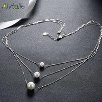 ingrosso perle originali per il matrimonio-Aivtalk Luxury Pearl Necklace Genuine S925 Sterling Sliver Charm Ciondolo per le donne Clavicola accessori abito da sposa gioielli