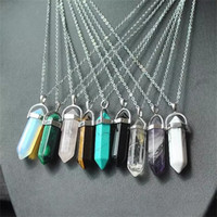 Wholesale green stone necklaces - 20 styles Natural Stone Pendant Druzy Drusy Necklace Stainless Steel chain Bullet Hexagonal prism Black Lava Diffuser Necklace Jewelry